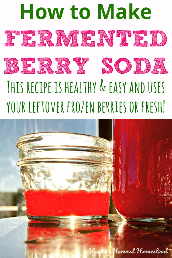 Want a healthy homemade soda recipe that is filled with probiotics and is actually good for you? Here's my fermented berry soda recipe. You use frozen or fresh berries, and it turns out delicious! Serve this drink cold for a summer refreshment everyone will love--even your kids! #fermented #berrysoda #soda #sodarecipe #sodapop #sodasubstitute