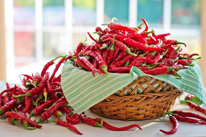 Cayenne peppers are lovely. When dried and ground, the orange powder is very potent.