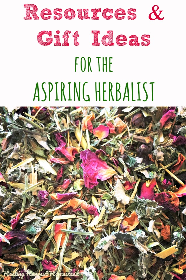 Are you an aspiring herbalist? Or do you know one? Here is a great list of ideas and resources that any herbalist will love! These are great gifts for a friend...or for you! You can start learning about using herbs any time, so if you've been interested in learning more, you'll want to take a look at this list! #herbal #herballearning #learning #gifts #fungifts #herbalgift #herbgift #giftguide #herbalism #plantmedicine #resources #classes #plantmedicine #information #learnherbs