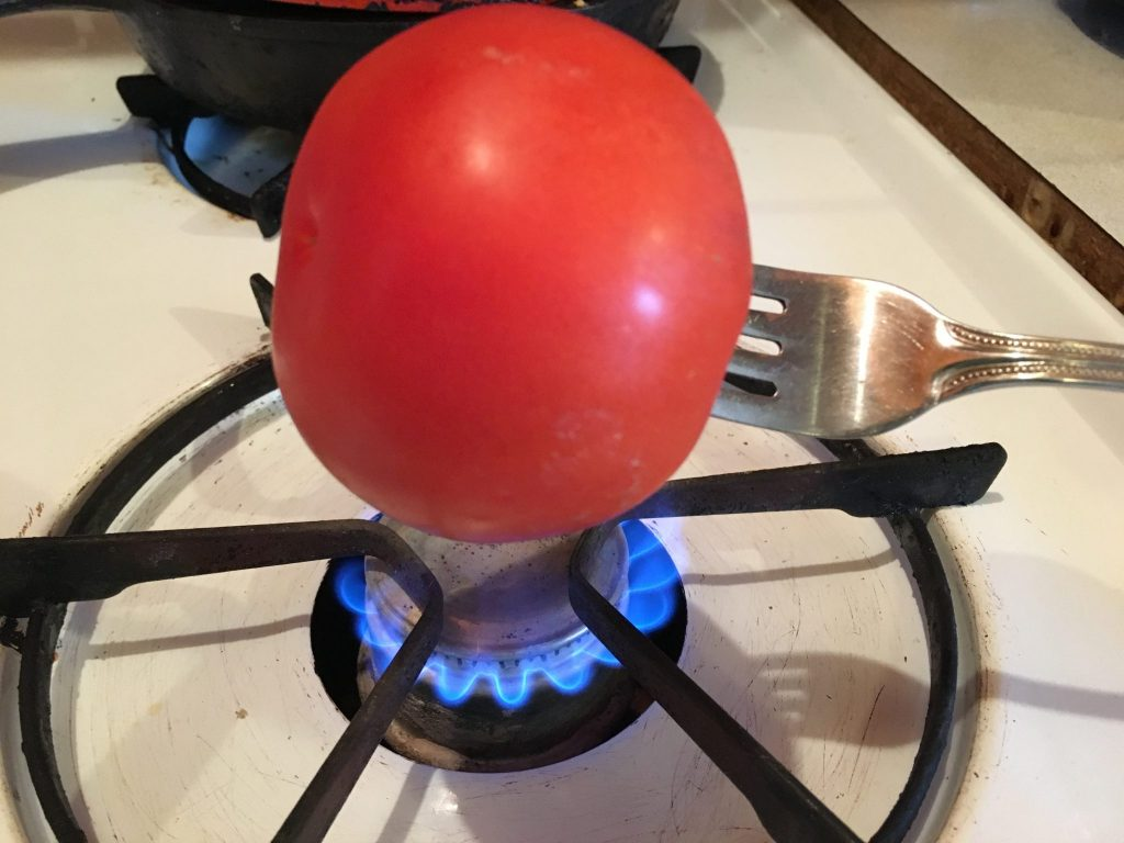 Here's one of the six ideas for peeling tomatoes from my friend, Delci---Who knew?