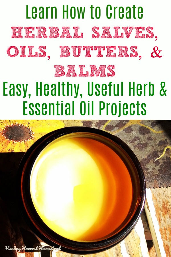 Want to create your own beauty and medicinal body products? You can use herbs and essential oils in your skincare and topical health products that work better than store-bought and don't have the chemical toxins. This eBook has everything you need to know, along with 22 salve, butter, & balm recipes, plus instructions so you can create your very own recipes. #recipe #salve #healing #healingharvesthomestead #balm #butter #bodycare #skincare #natural #healthy #infused #essentialoil