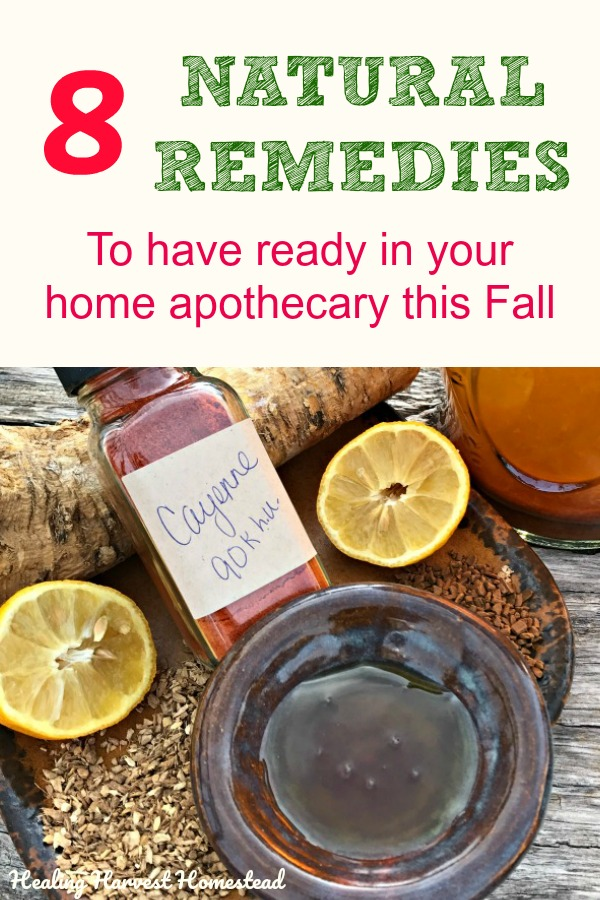Fall is here, and that means cold and flu season is starting! Be ready this year! With a few easy-to-make items and ingredients to keep on hand, you can make your own natural cold & flu remedies yourself for toddlers through adults. Get rid of cough, congestion, sinus aches and more in these natural home remedies to get ready now. #cough #congestion #cold #flu #remedy #natural #naturalremedy #coughsyrup #nasalcongestion #coldremedy #fluremedy #healingharvesthomestead