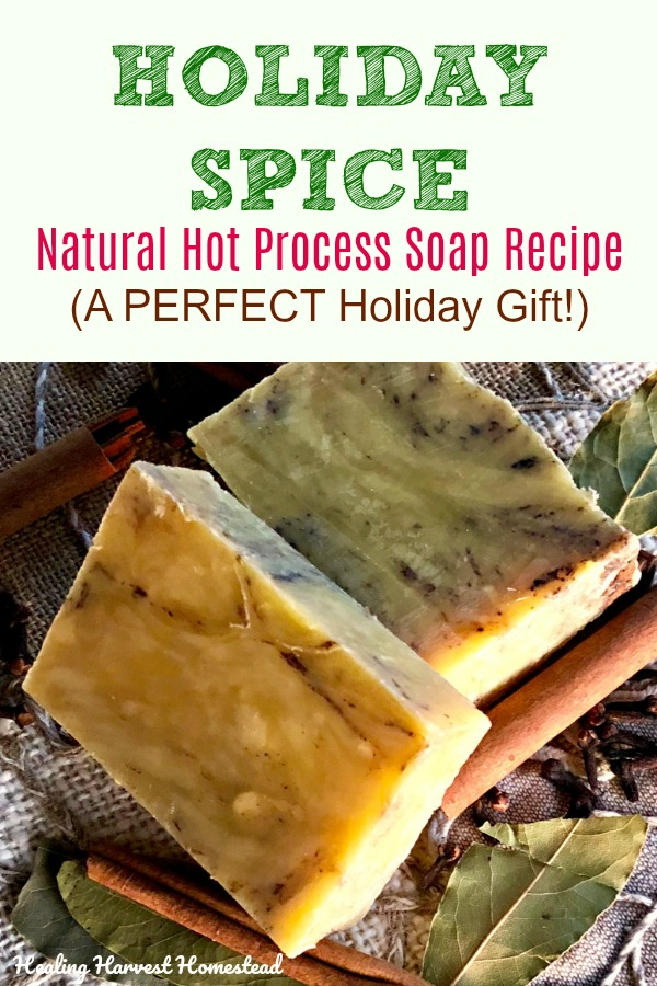 Planning your holiday gift list? Here is a handmade natural soap recipe that makes a perfect holiday present. It smells DEE-licious, with hints of citrus, refreshing green, and spiced notes. It's an easy, inexpensive gift. If you have ever wanted to make your own soap, perhaps start with this one! #howtomake #hotprocesssoap #coldprocess #recipe #natural #naturalsoap #handmade #holidaygift #gift #healingharvesthomestead #soapmaking #makesoap #soap #essentialoil