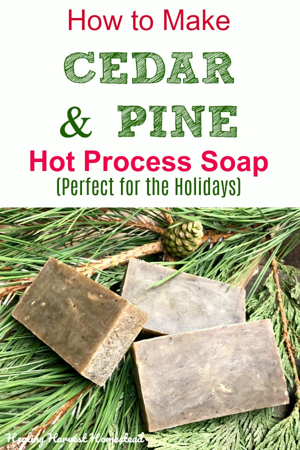 Here is a perfect soap recipe to make for the holidays: Pine & Cedar. Your man will love it and you will too! The hot process soap making method is high lighted in this post, so you can use the soap right away! Make pine & cedar natural handmade soap! #soap #soapmaking #howtomake #hotprocess #pinesoap #cedarsoap #pine #cedar #naturalsoap #handmadesoap #crockpotsoap