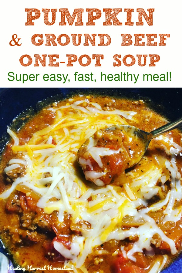 This fast, easy, and healthy pumpkin and hamburger soup recipe is perfect for a busy week night or any night with a cool chill to the air, like in the Fall. It boosts your immune system, and guess what? You can make it all in one pot, even the ground beef. Super easy clean up. #souprecipe #soup #healthy #easy #fast #keto #onepot #hamburger #groundbeef #recipe #weeknight #Fallsoup #cozysoup #hyggesoup #onepotmeal #meal
