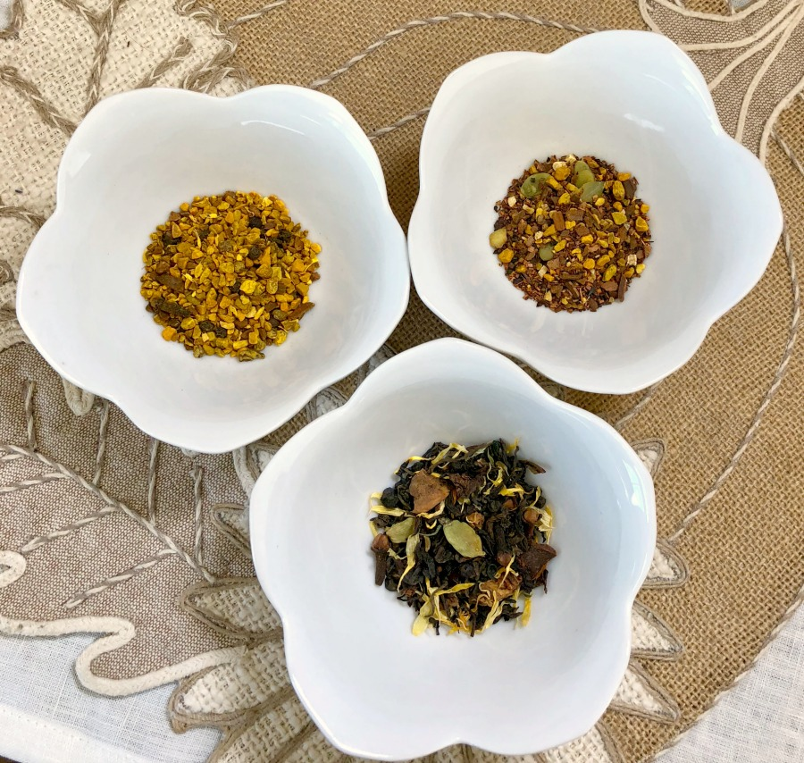 Loose leaf teas made with spicy herbs for Fall! Love the linens? You'll have to take a look at  Magic Linens  for traditional high quality linen table accessories!