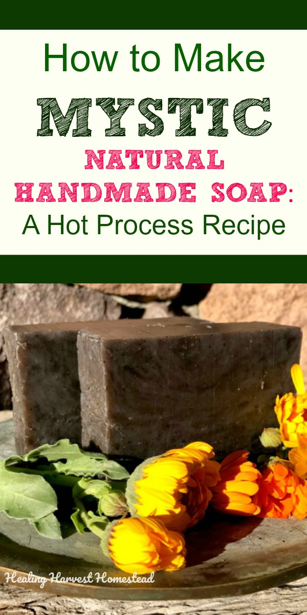 Here's a nearly black natural handmade soap recipe scented with warm and sexy essential oils—-perfect for Halloween and Fall. This is a hot process recipe, although you could easily convert it to cold process soap. #sexysoap #hotprocesssoap #blacksoap #natural #handmade #soaprecipe