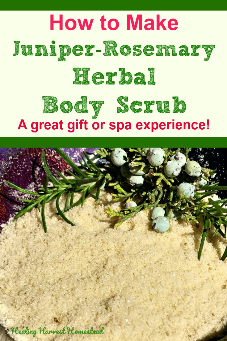 Find out how to make an herbal salt scrub using juniper berries and rosemary for a luxurious spa body scrub. You can give this away as a thoughtful diy homemade gift, or use it for yourself! You deserve it! #saltscrub #sugarscrub #bodyscrub #naturalscrub #spascrub #herbalscrub #healingscrub #healthy #scrub #healingharvesthomestead
