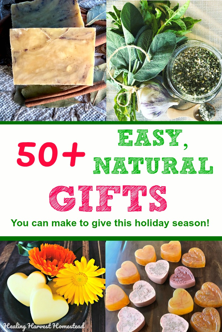 Do you want to make thoughtful, easy handmade gifts for this upcoming holiday season? Here are over 50 natural gift ideas you can make! Foods, bath sets, and LOTS more! #handmade #gift #easy #ideas #diy #natural #holidaygift #Christmas #Hanukkah #stockingstuffer #howtomake #healingharvesthomestead