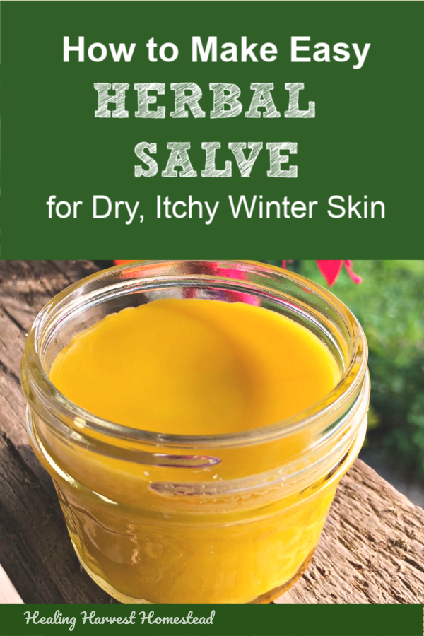 Dry, itchy winter skin got you scratching? Ashy? Well, no more worries! This easy herbal salve will take care of your dry skin quickly. It smells great too! Winter time weather dries out our skin something terrible, and this salve will remedy that problem for you! Natural skincare at its best. #dryskin #homeremedy #diycream #salve #herbal #moisturizing #skincare #natural #healingharvesthomestead