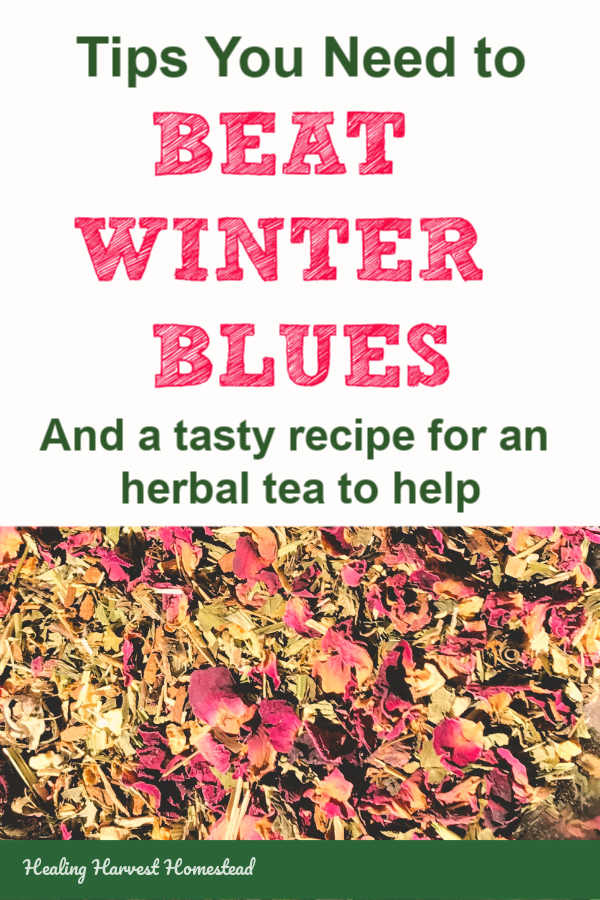 Feeling a little down this winter? Here are some tips PLUS a recipe for an herbal tea  recipe you can make at home that can help with your winter feelings of sadness.  #herbal #tea #sadness #depression #SAD #winterblues #healingharvesthomestead