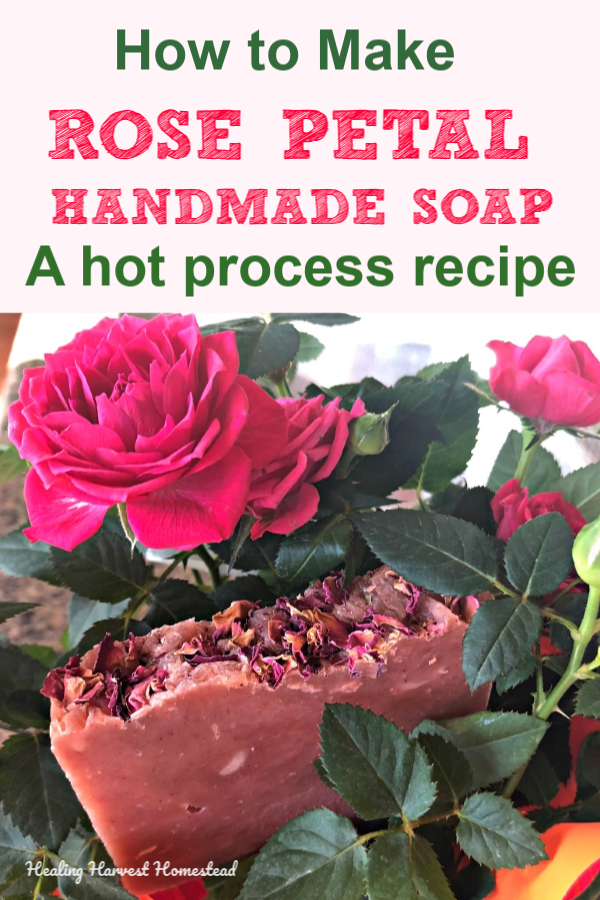 Need a quick and easy handmade soap recipe that's perfect for Valentine's Day? Here you go! This is a hot process recipe, which means the cure time is just a day or two. You'll love making this soap for friends, family…and yourself! Find out how to make your own handmade natural soap. #howtomake #soap #handmadesoap #recipe #hotprocess #valentinesday #gift #handmade #healingharvesthomestead