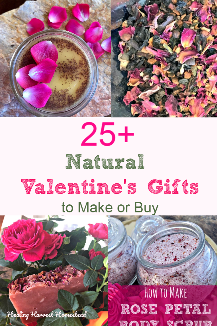 Great gifts for a Natural Valentine's Day! Ready to create some awesome, natural, green & eco-friendly Valentine's Day gifts? Here are some ideas to get you going on Valentine's gift giving now. From herbal tea blends to handmade body care to other unique gifts…you'll find great DIY ideas here! #healingharvesthomestead #valentinesday #gift #handmade #natural #ecofriendly #natural #idea