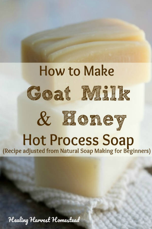 I love this recipe for goat milk and honey soap! I decided to adapt this cold process recipe for the hot process method, and you can see how it turns out here! You'll also get the recipe, plus step by step directions for both cold process and hot process soap! This is a luxuriously moisturizing soap you'll just love! #goatmilksoap #goatmilk #honey #goatmilkandhoney #howtomake #soap #handmade #healingharvesthomestead