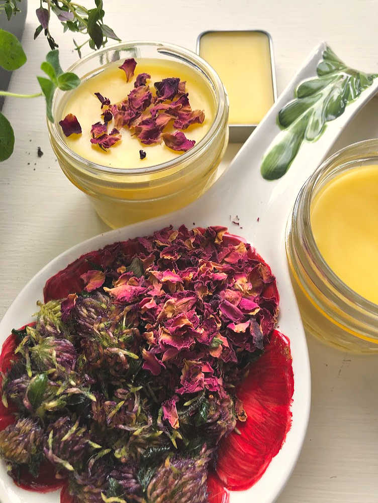 And now you have a lovely Red Clover & Rose Petal Salve!