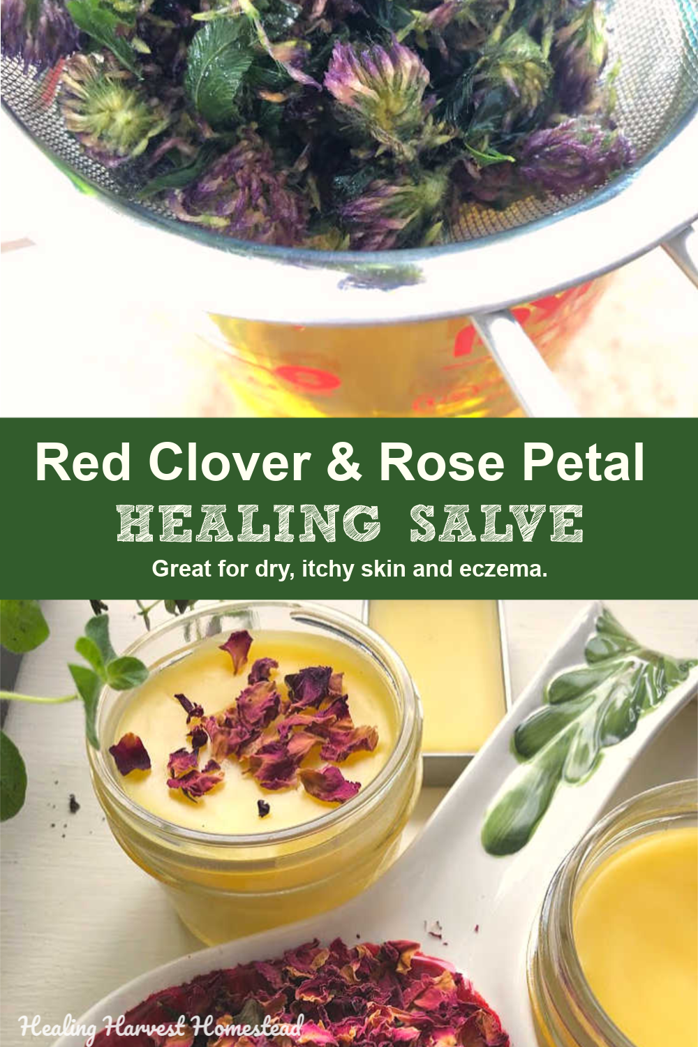 It's easy to make your own healing home remedy for the skin. This salve contains a mix of herbs and essential oils that can provide relief from eczema and dry, itchy cold weather skin. Learn to make an herb infused oil, turn it into salve, and be chemical free! You'll love this soothing eczema & psoriasis salve recipe. #healingsalve #eczema #salve #healing #homeremedy #recipe #healing #howtomake #herbal #healingharvesthomestead #naturalhealing