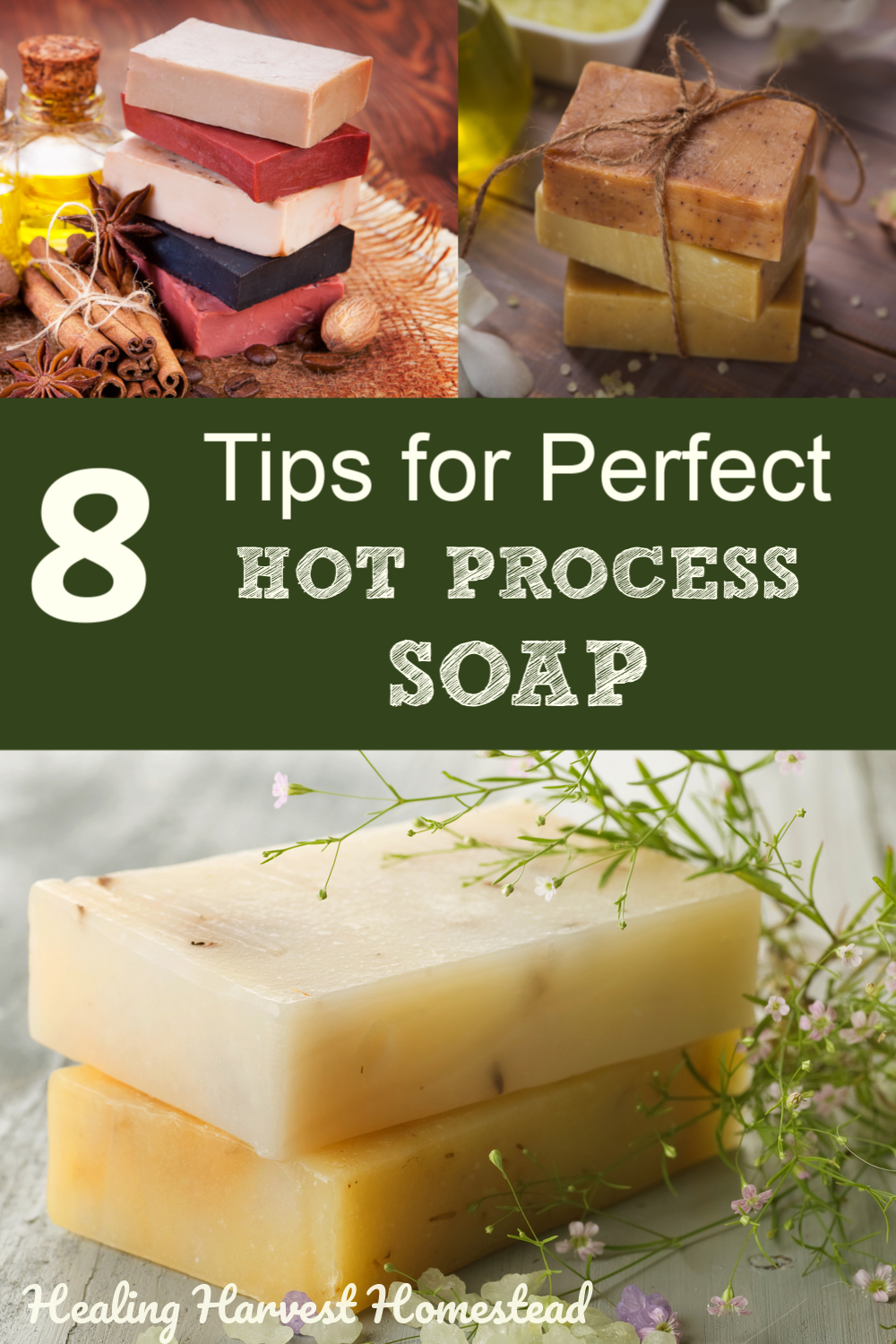 These are the BEST tips and tricks for making sure your handmade hot process soaps are perfect! Find out all the things to watch out for so you can make your own natural handmade soap using the hot process soap making method. #hotprocess #soap #making #natural #howtomake #healingharvesthomestead