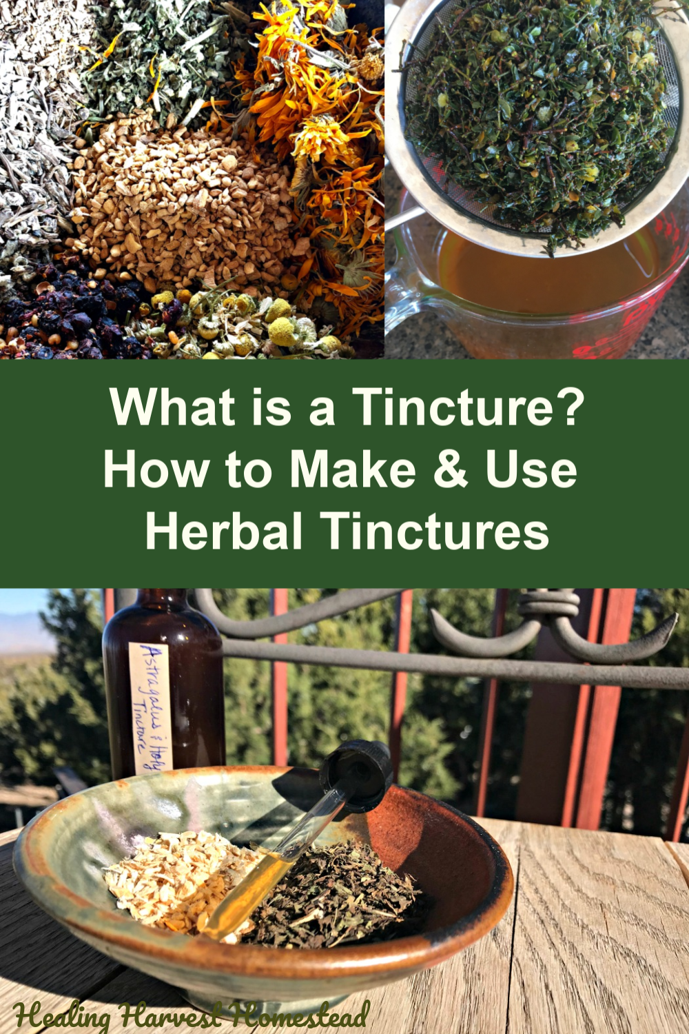 Have you ever wondered what on earth a tincture is? Well, here is your answer, along with how to make your own herbal tinctures. You'll also learn how to use them as well. Tinctures are one of the best home remedies you can learn to make. They are easy and simple to make, and best of all, they are safe, effective. They work wonders for your health! #herbal #tincture #howtomake #howtouse #homeremedy #health #healingharvesthomestead