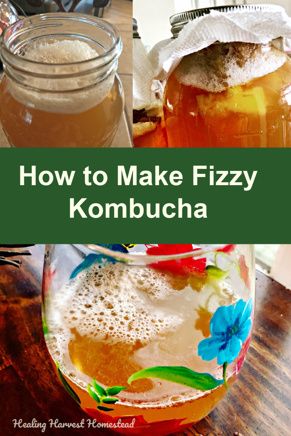 Find out how to make your homemade kombucha super fizzy and delicious every time! This healthy and natural soda substitute is full of probiotics, and can be is flat. This article explains how to get that soda pop feeling in your healthy drink. Party in your mouth! #kombucha #howtomake #fizzy #naturalsoda #substitute #healthy #drink #carbonate #healingharvesthomestead
