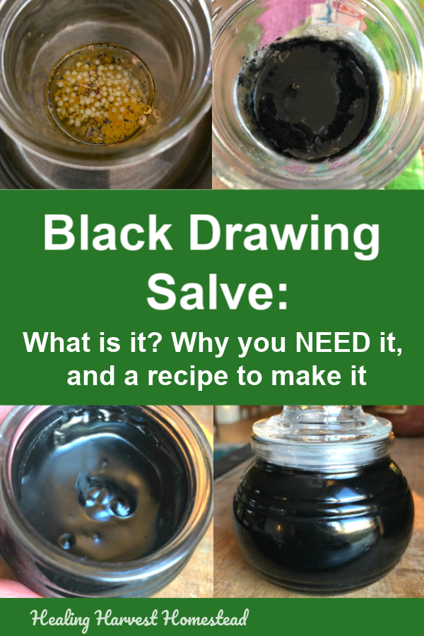 Ever wonder what black drawing salve is and what it's used for? Well, here are the answers, along with my favorite recipe you can make at home. Make this Black Drawing Salve easily & quickly because you need this in your medicine chest or first aid kit! Step by step pics + directions. Great project for handmade gifts! #blacksalve #drawingsalve #blackdrawingsalve #homeremedy #healingsalve #charcoal #natural #remedy #splinter #boil #greatskin #healingharvesthomestead #getridof #skininfection