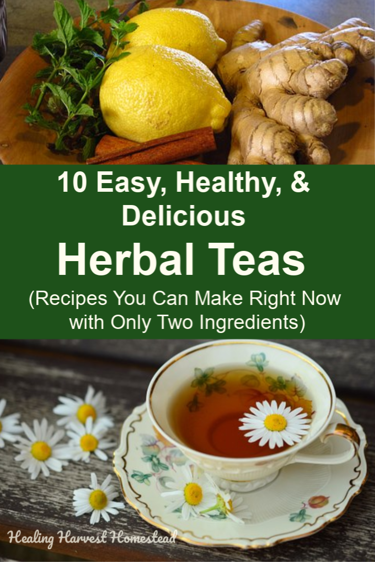 Have you ever wished you could just make a cup of tea quickly and easily when you need it? Well, you can! Here are 10 simple and easy herbal teas using only two ingredients. These taste great, and they help with different common ailments like constipation, sleep, digestive upset, energy, and lots more! Take a look at these easy teas you can make with spices that are probably already in your kitchen cupboards. #herbaltea #tea #recipe #tearecipe #homeremedy #teaforhealth #healingharvesthomestead