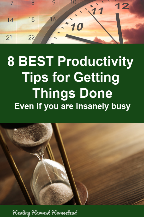 We are all busy, and some of us manage to pack so much into a day! How do these people get so much done? We all have the same amount of time, and here are my best tips to help you get more done, more efficiently, and stop wasting time! Productivity and time management is where it's at if you are going to advance in your career, your life, your learning. And, your self-care. #productivity #tips #productive #gettingthingsdone #doalot #healingharvesthomestead #timemanagement