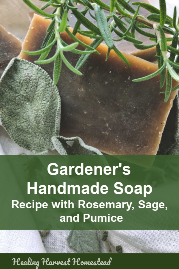 This handmade soap recipe is highly cleansing and perfect for the gardener in your life! It contains antibacterial herbs as well as pumice, and it works like a charm. If you have a gardener you know, he or she will adore this rosemary and mint scented soap using the hot process method! With hot process soap making, your soap is ready right away. #soapmaking #hotprocesssoap #soaprecipe #makesoap #howto #herbalsoap #gardenersoap #handmadesoap #healingharvesthomestead