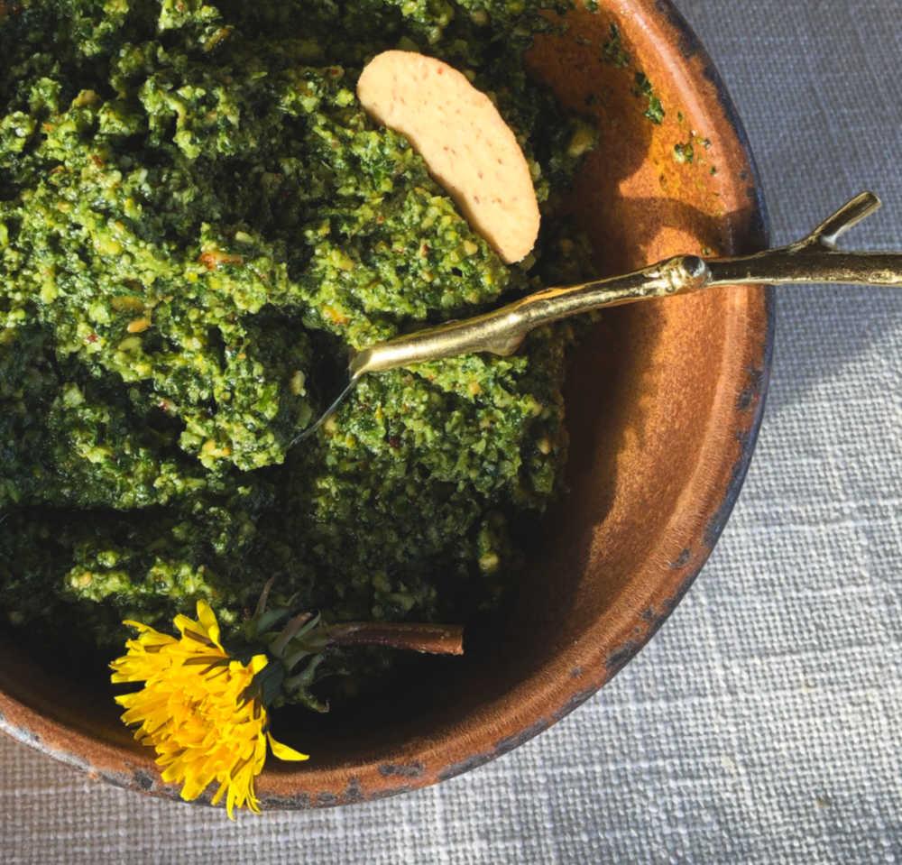 Mmmmm…… Dandelion spring greens pesto.