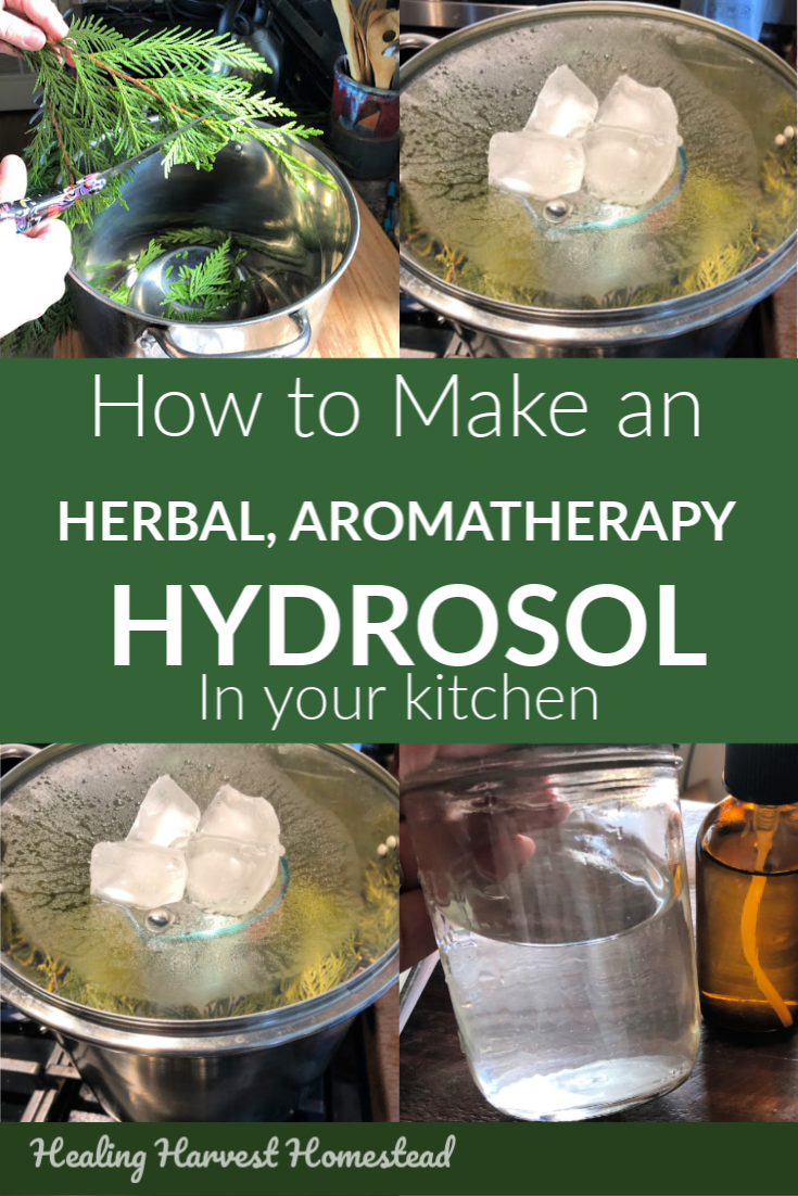 Learn how to make an aromatherapy hydrosol right in your own kitchen. You don't need a still or special equipment, either. The distilling process is easy, and you'll be on your way to making handmade hydrosols for skincare, health, and cleaning before you know it! Making a homemade hydrosol is simple! #hydrosol #howtomake #homemade #aromatherapy #distill #toner #benefits #essentialoil