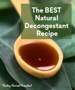 Here is the BEST Natural Decongestant Recipe EVER. Suffering this allergy season? Suffer no more!  Click here for easy directions.