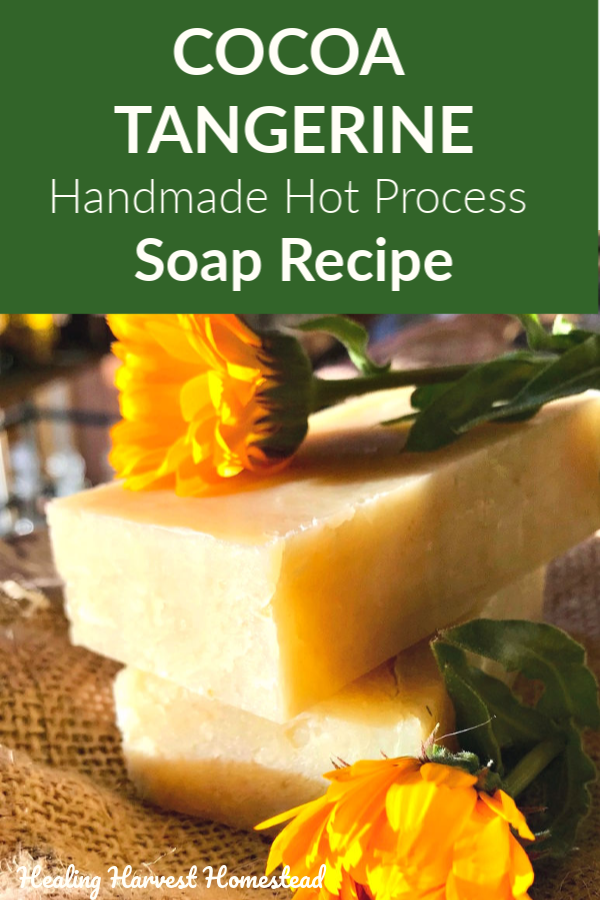 Making your own handmade soap is a fun way to be sure you're not getting the toxins found in commercial soaps…and you can be as creative as you like! Here is a handmade soap recipe for the hot process soap making method with a delicious cocoa and tangerine scent. It contains calendula infused oil and oatmeal, which is softening and healing for your skin! #handmadesoap #hotprocess #soap #recipe #cocoasoap #citrussoap #tangerine #oatmealsoap #softeningsoap #healingharvesthomestead #diy #natural
