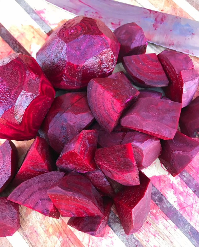 I peeled these beets. This is about the size I cut them up---the ones in the top are not cut up yet!