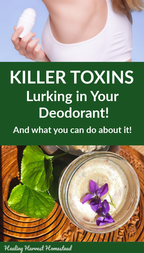 Are you slathering poisonous, toxic chemicals on your body every day? Learn about the toxins lurking in your deodorant & antiperspirant and  what you can do about it.  There are options you can buy, and even better you can make your own homemade deodorant with the included recipe that works! How to make your own handmade natural deodorant that really works! #deodorant #handmade #recipe #howtomake #sensitiveskin #withoutodor #homemadeskincare #bodycare #diy #healingharvesthomestead