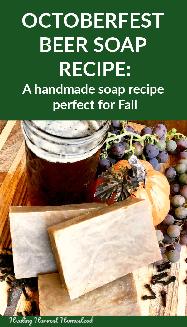 Want to make handmade soap this Fall? This natural hot process beer soap recipe is perfect! It's made using Autumn ale, and gives you a lovely caramel colored soap. You'll love it! Scented with manly essential oils like cedarwood, it's a perfect man gift. #hotprocesssoap #soap #handmade #handmadesoap #beersoap #Fall #Autumn #Fallsoap #homemade #beer #Octoberfest #natural #soapmaking #healingharvesthomestead