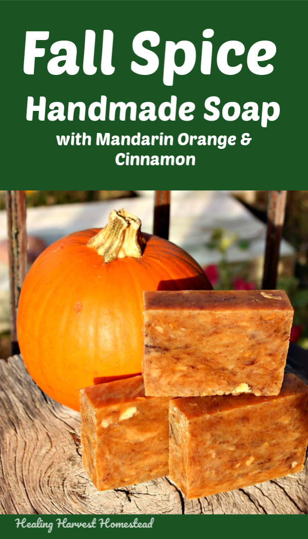 Fall Spice Soap, with essential oils. This hot process handmade soap recipe makes a lovely burnt orange soap with scents of fall pumpkin spice. It smells A-mazing! This hot process soap recipe includes only natural ingredients! Just in time for Fall! Because it is hot process, you can use it right away. Complete instructions on how to make hot process soap are included. #handmadesoap #soaprecipe #fall #howtomake #healingharvesthomestead #naturalsoaprecipe #fallsoap #handmade #soap