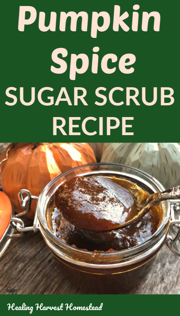 This pumpkin sugar scrub will leave your tired skin glowing this Fall. Filled with nutrients for anti-aging and exfoliation, it's the perfect facial scrub for Autumn. If you have leftover pumpkin puree this Fall, you've GOT to try this skincare scrub recipe. Find out the skin health benefits of pumpkin and how to make this delicious, healthy scrub that really works! #sugarscrub #pumpkinscrub #skincare #natural #healthyscrub #exfoliating #antiaging #benefits #pumpkin #healingharvesthomestead