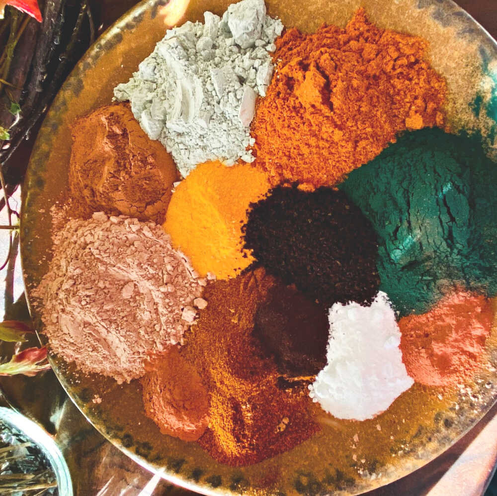 Here are just a few of the clays and herbal powders I have on hand….lots of choices! They are not expensive, and once you have them they last a long, long time!