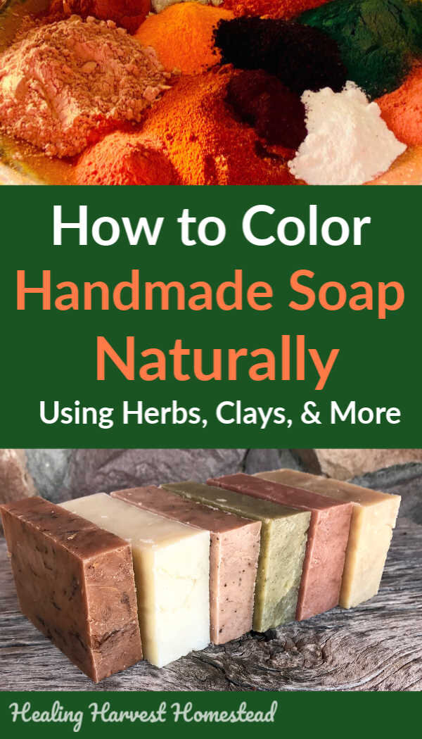 Are you making handmade soap for your family and want it to be as natural, clean, and toxin free as possible? The colorant you decide on is so important. If you want truly natural handmade soap, find out the best plants, clays, and textures from the earth to use to color your homemade soap. You need this list! #howto #colorsoap #handmadesoap #naturally #naturalsoap #soaprecipe #makesoap #healingharvesthomestead