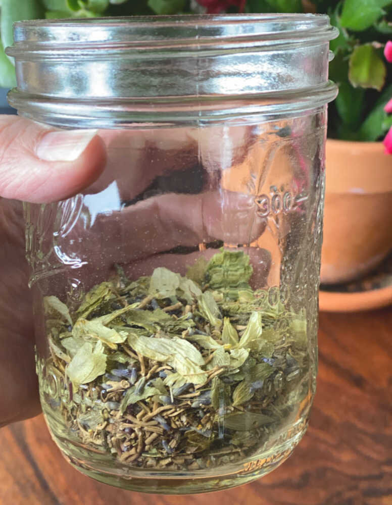 Here are the herbs in a pint size jar.