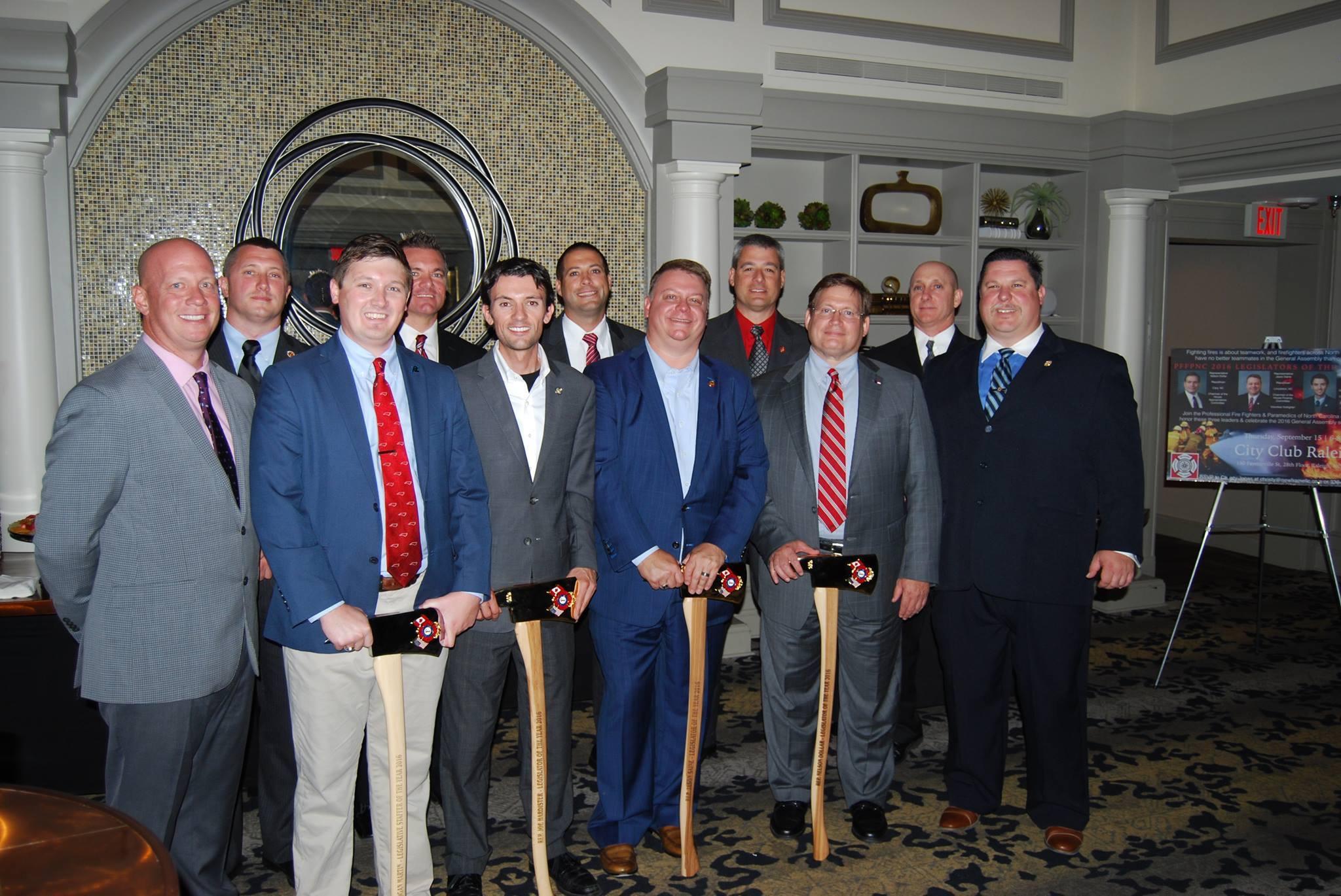 Members of PFFPNC and (L to R) Logan Martin, Jon Hardister, Jason Saine, & Nelson Dollar