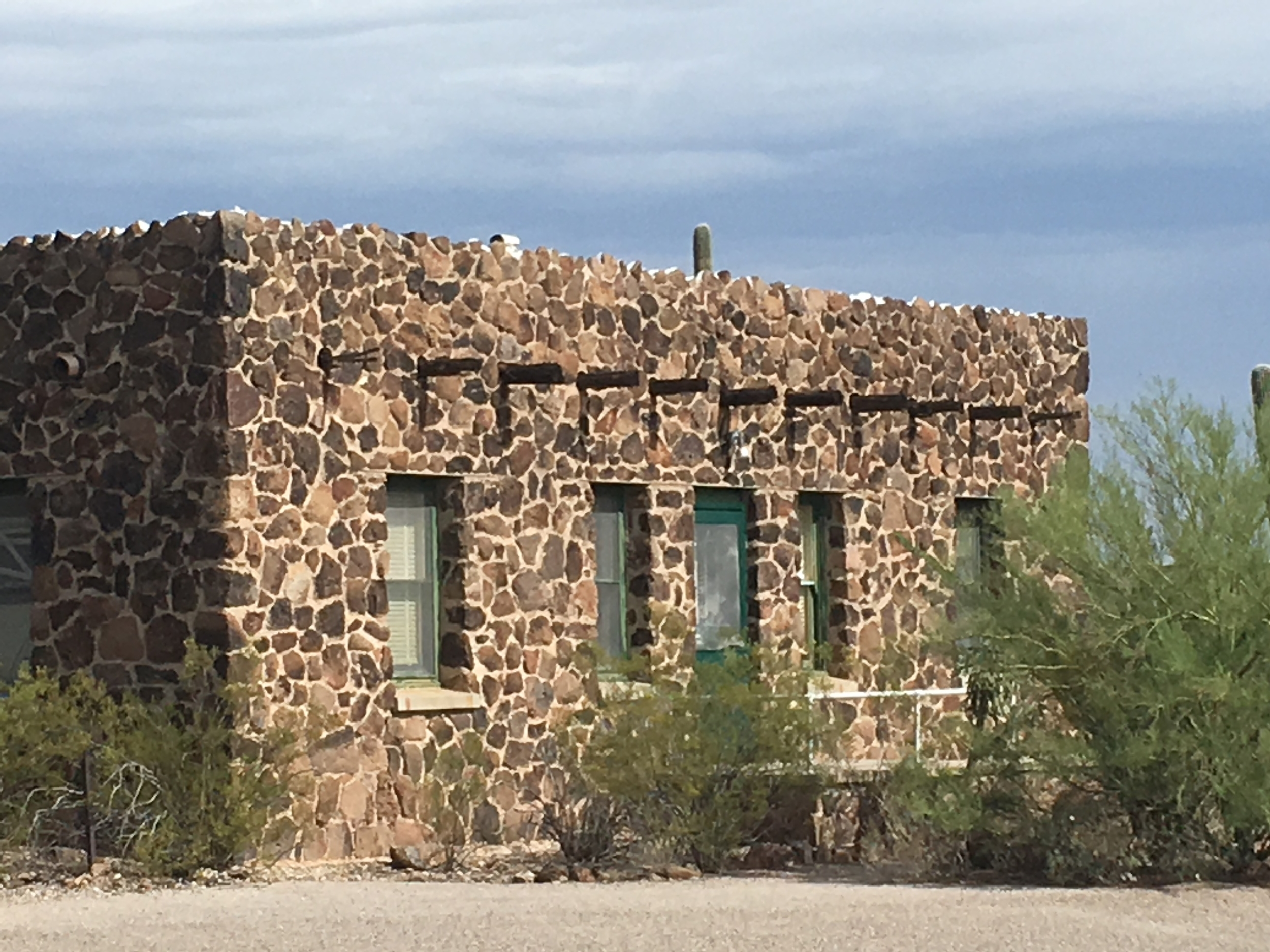 There are several stone buildings on Tumamoc Hill. The Arizona Geological Survey says the geology of Tumamoc and Sentinel Peak is dominated by 20- to 30-million-year old rock.