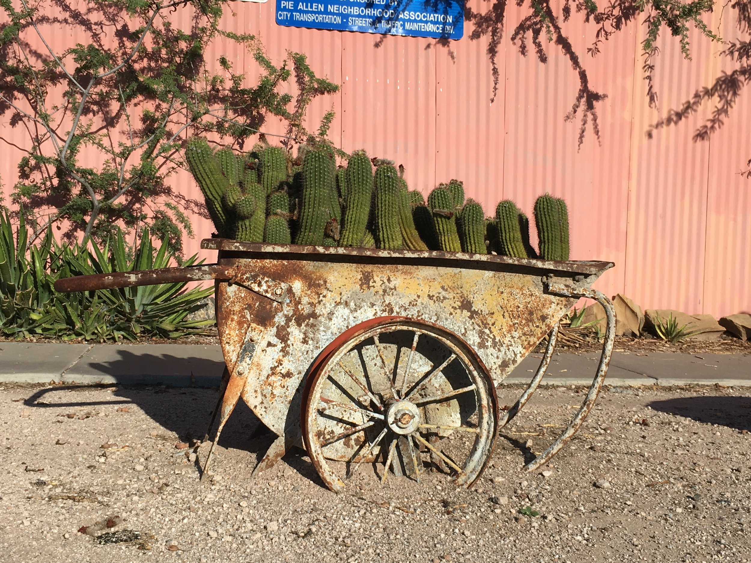 Old mining equipment is now a planter in the Pie Allen neighborhood south of the University of Arizona.