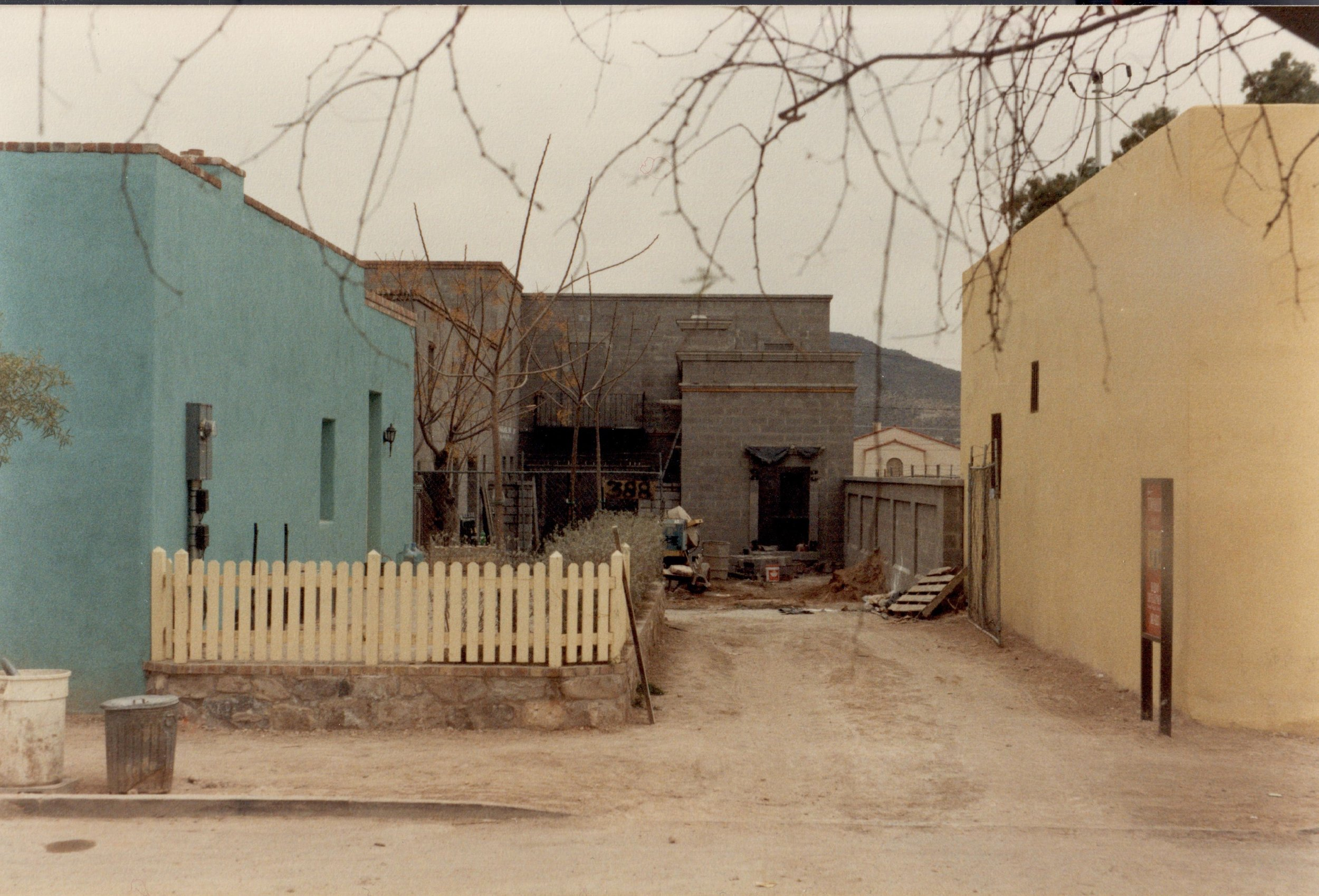 """This """"before"""" photo is even older — probably about 1989. It shows 396 S. Convent on the left and 382 S Convent on the right. The house under construction at the back is 388 S. Convent."""