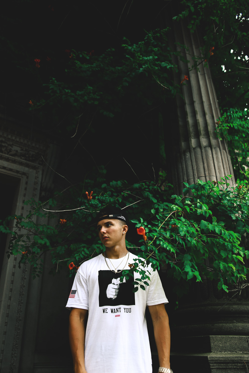 Old architecture. Greens with bright highlight colors in the form of flowers. Dope Clothing. Skrt.