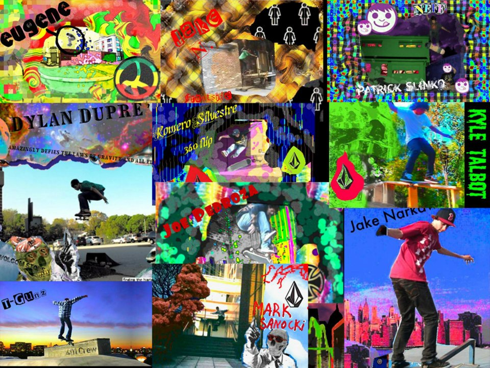 A collage of all of the skateboard ad type of things I did way back in 7th grade before I even knew what photoshop was.I'd take an image that one of these guys would send me and just pop it in Microsoft paint or Photofiltre and edit away. This is where it all started.