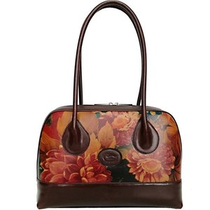 brown leather wristlet with coloured flower Leather clutch bag
