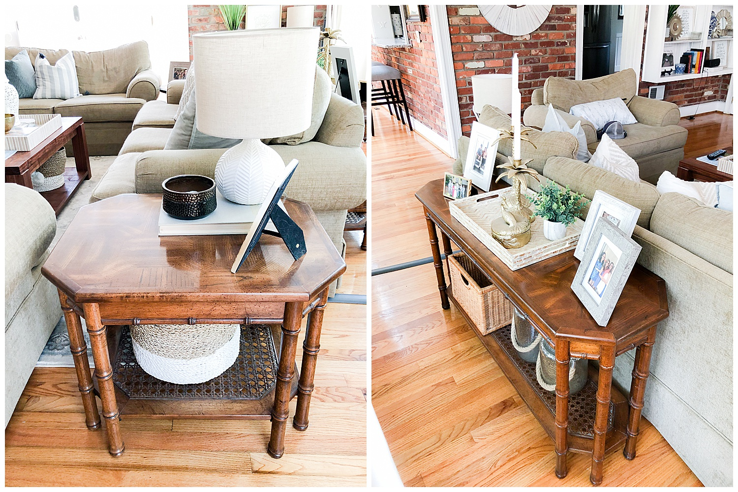 BAMBOO SIDE TABLE AND SOFA TABLE: $80