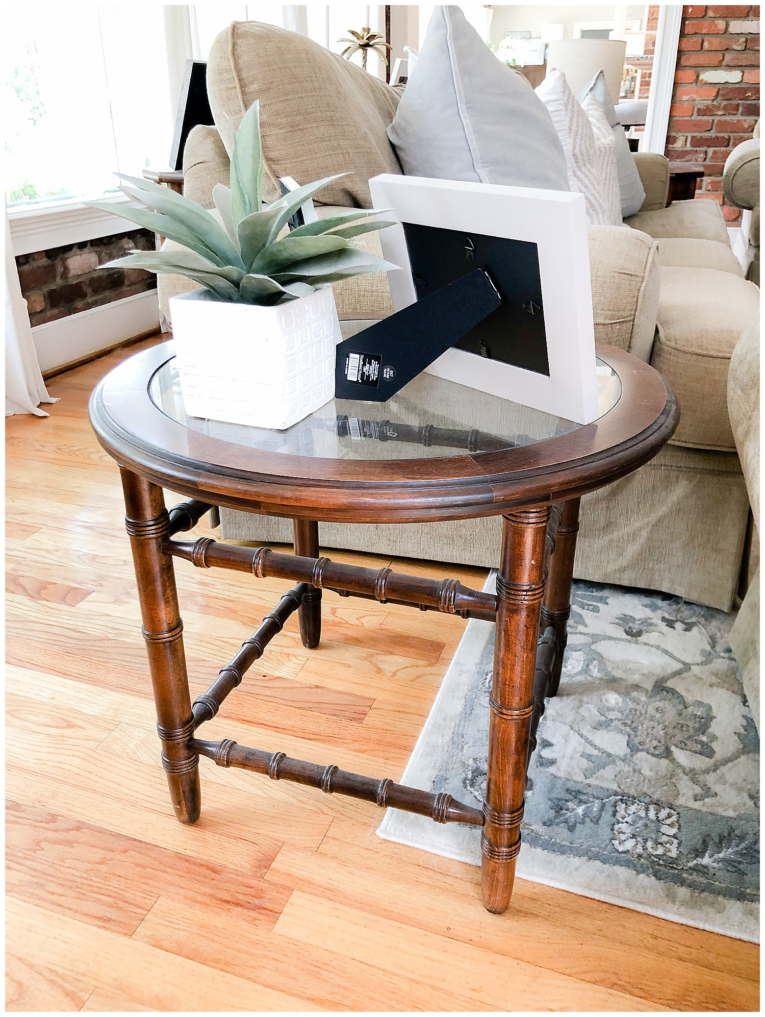 BAMBOO GLASS TOP SIDE TABLE: $65