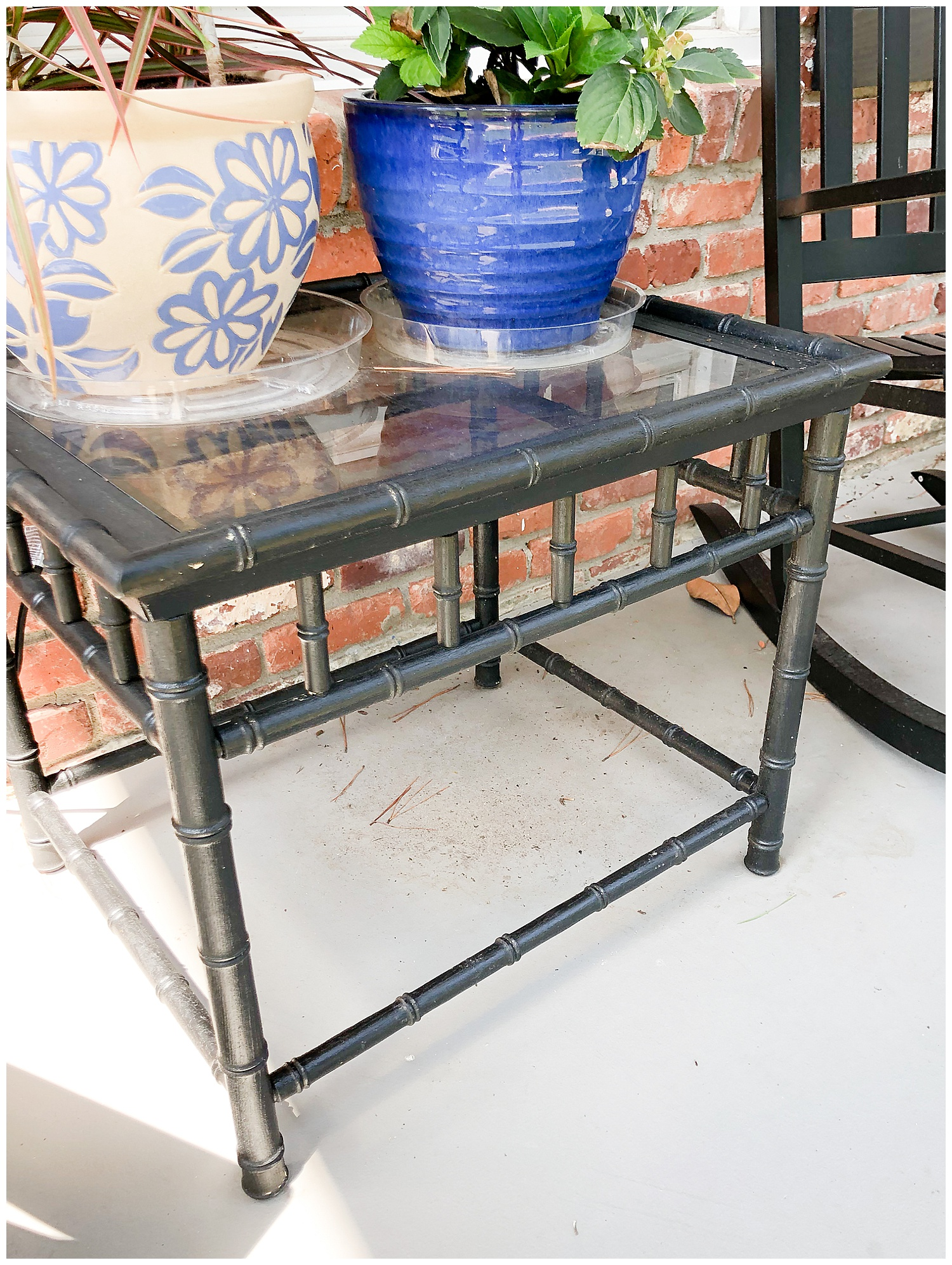 2 BAMBOO SIDE TABLES: $10 (WE PAINTED BLACK)