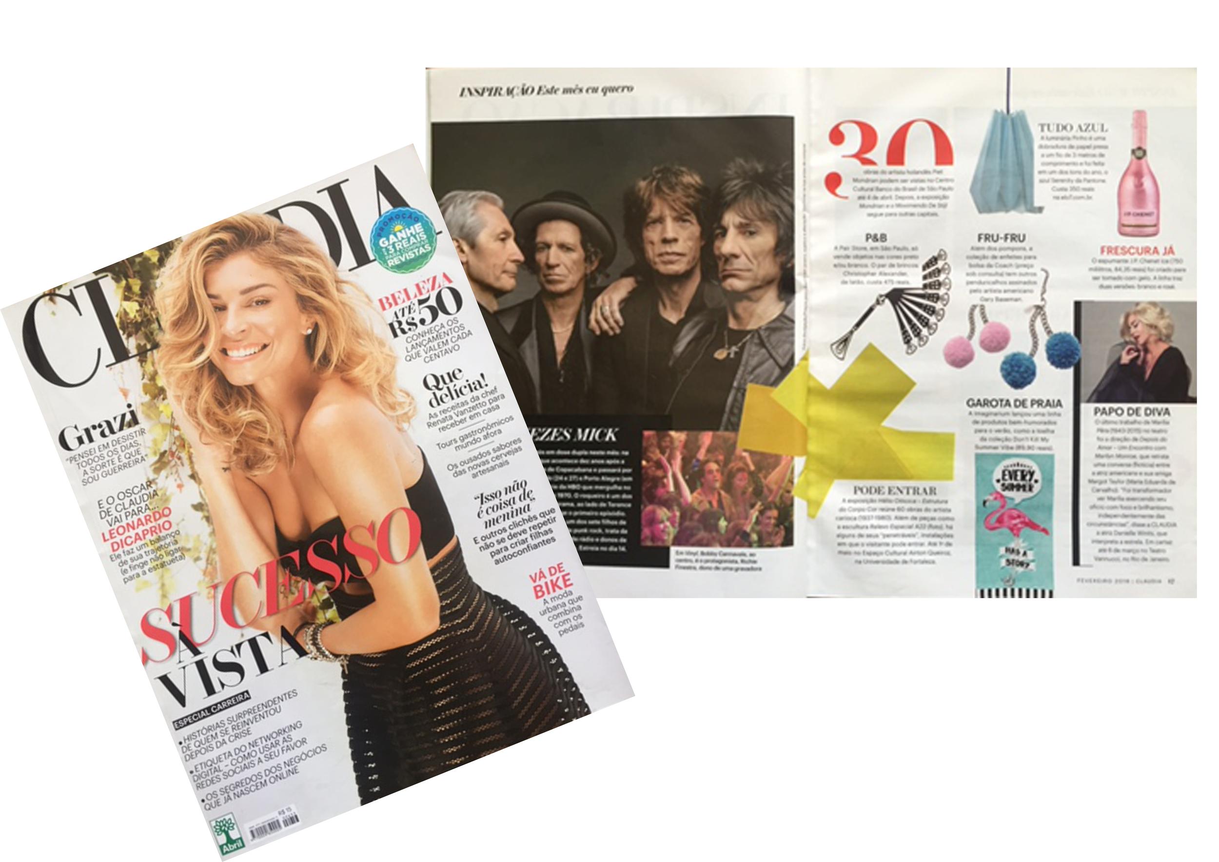 Nosso pendente  PINHO  na cor Aquamarine está na Revista CLAUDIA - Fev 2016